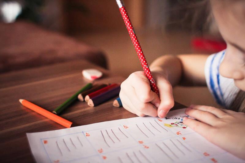 criança estudando educação em casa