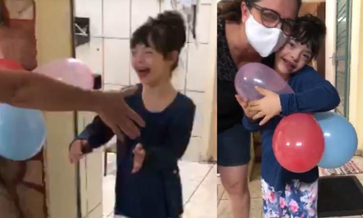 Menina com síndrome de Down se emociona ao abraçar os pais curados da covid-19