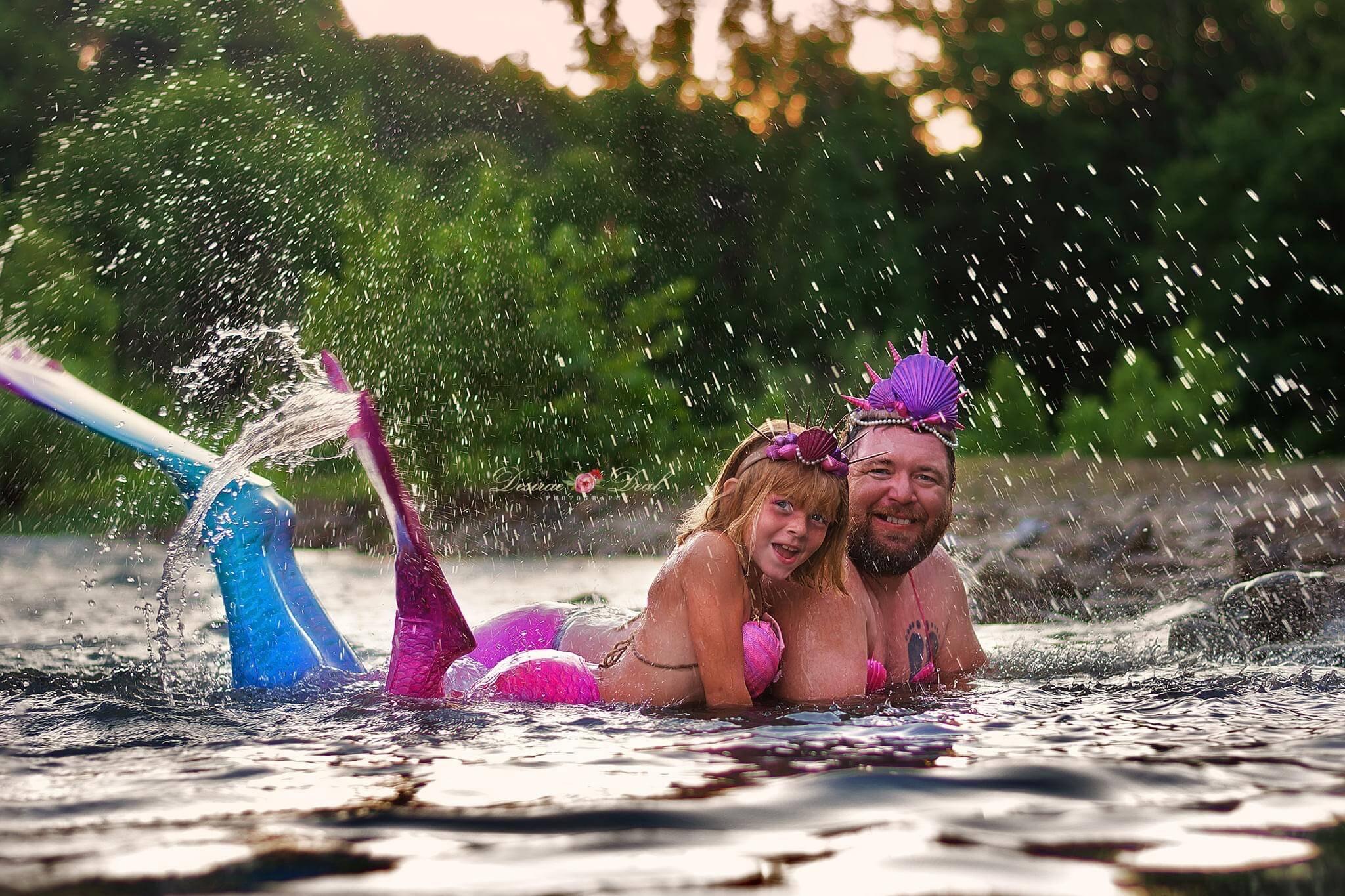 Menina celebra aniversário de 8 anos com ensaio fotográfico de sereia ao lado do pai