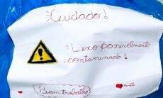 Menina com suspeita de coronavírus deixa recado em saco de lixo para alertar garis