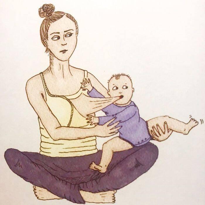 Desenhista norueguesa mostra perrengues da maternidade em ilustrações
